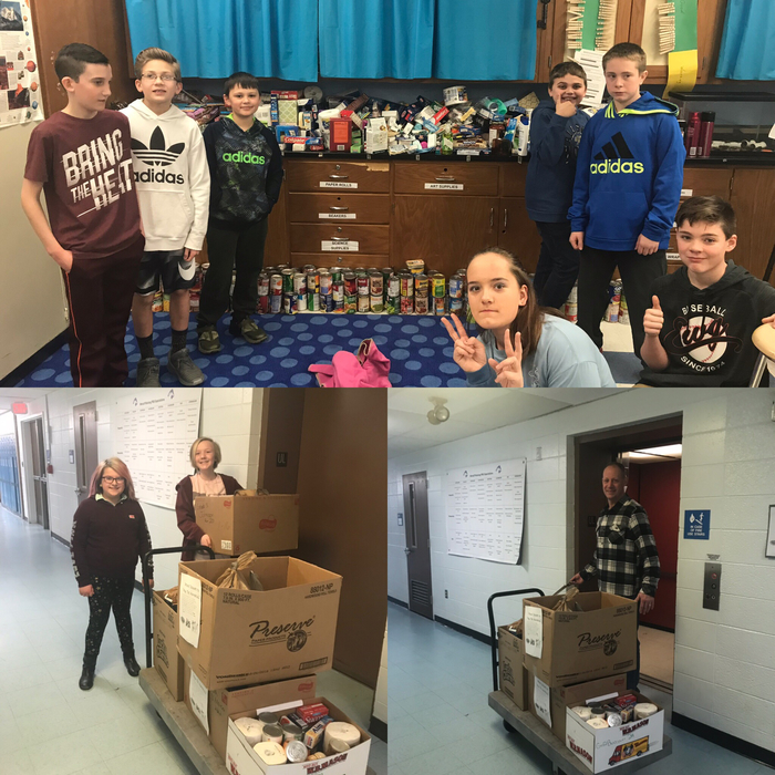 Unbelievable results for our Food Drive run by the 6th grade!! We are so proud!